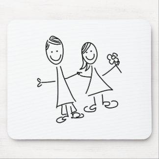 Tapis De Souris Couples de pair des amants dessinant le tapis de