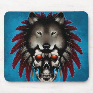 Tapis De Souris Crâne de Natif américain avec le loup par le maçon