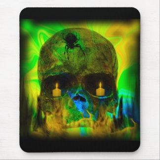 Tapis De Souris Crâne gothique allumé par noir