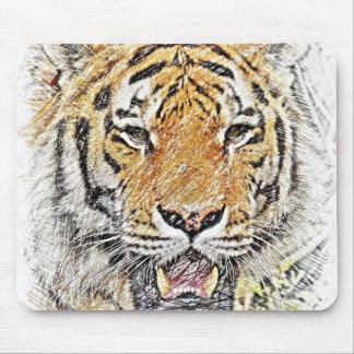 Tapis De Souris Croquis coloré par tigre Mousepad