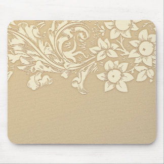 Tapis De Souris cru floral beige