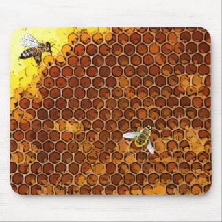 Tapis de souris d'abeille de miel de ruche de nid