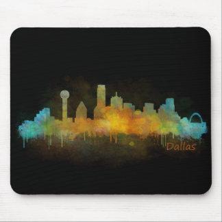 Tapis De Souris Dallas Texas Ville Watercolor Skyline Hq v3