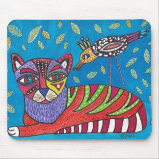 Tapis de souris de chat et d'oiseau