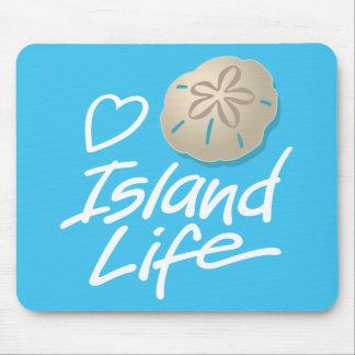 Tapis de souris de la vie d'île de coeur avec le