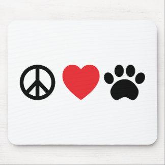 Tapis de souris de patte d'amour de paix