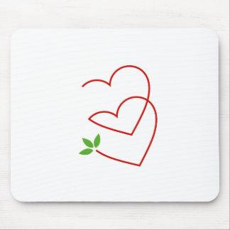 Tapis De Souris Deux coeurs avec le symbole de feuilles pour le