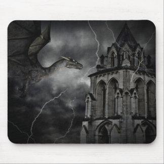 Tapis De Souris Dragon gothique d'imaginaire de nuit orageuse