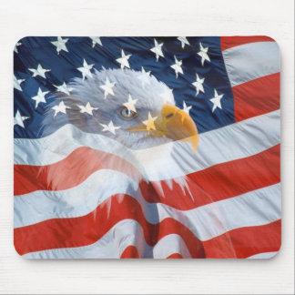 Tapis De Souris Drapeau américain chauve patriotique d'Eagle