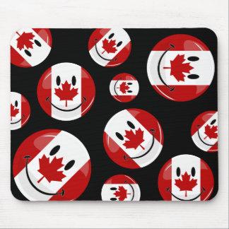 Tapis De Souris Drapeau canadien de sourire de rond brillant