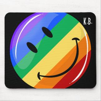 Tapis De Souris Drapeau de sourire rond brillant de gay pride