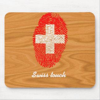 Tapis De Souris Drapeau d'empreinte digitale de contact de Suisse