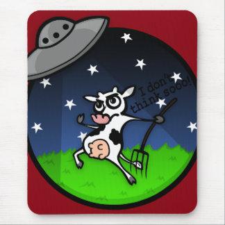 TAPIS DE SOURIS DRÔLE D'ABDUCTION D'UFO DE VACHE À