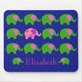 Tapis De Souris Éléphants verts et roses lunatiques Mousepad