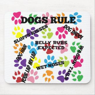 Tapis De Souris Empreintes de pattes colorés de règle de chiens