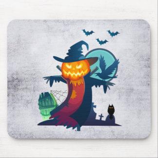 Tapis De Souris Épouvantail de Halloween avec des chauves-souris