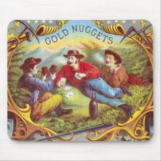 Tapis De Souris Étiquette vintage de cigare de pépites d'or
