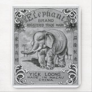 Tapis De Souris Étiquette vintage de pétard de marque d'éléphant