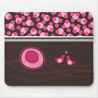 Tapis De Souris Fleurs roses et motif heureux Mousepad de point