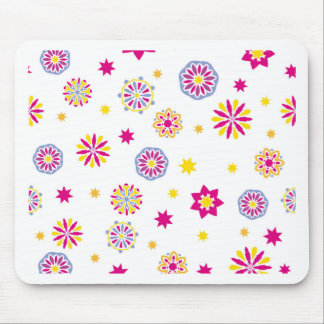 Tapis De Souris Fleurs roses, jaunes et bleues abstraites colorées