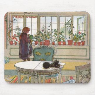Tapis De Souris Fleurs sur le rebord de fenêtre par Carl Larsson