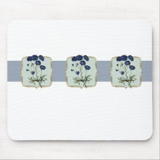 Tapis De Souris Fleurs vintages bleues au loin