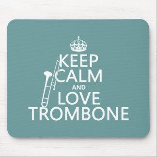 Tapis De Souris Gardez le calme et aimez le trombone (toute
