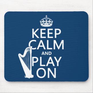 Tapis De Souris Gardez le calme et le jeu sur (harpe) (toute