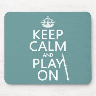 Tapis De Souris Gardez le calme et le jeu sur (hautbois) (toute