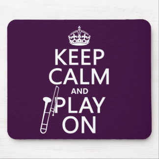 Tapis De Souris Gardez le calme et le jeu sur (trombone) (toute