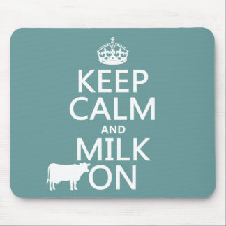 Tapis De Souris Gardez le calme et trayez sur (les vaches) (dans