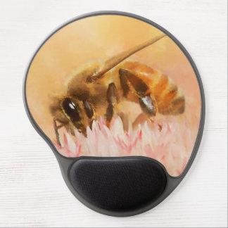 Tapis De Souris Gel Abeille de miel sur la fleur de fleur rose et