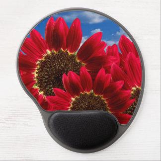 Tapis De Souris Gel Belles grandes fleurs sauvages rouges