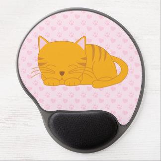 Tapis De Souris Gel Chat tigré orange de sommeil
