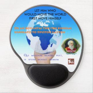 Tapis De Souris Gel Citation célèbre de Socrates - déplacez le monde