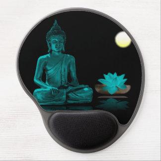 Tapis De Souris Gel Couleur turquoise Bouddha méditant la nuit