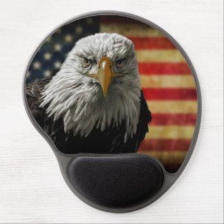 Tapis De Souris Gel Eagle chauve américain sur le drapeau grunge