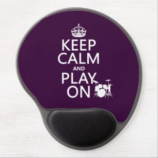 Tapis De Souris Gel Gardez le calme et le jeu sur (tambours) (toute