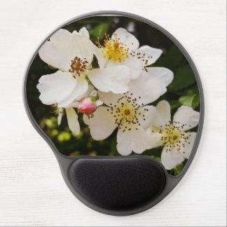 Tapis De Souris Gel Gel orienté Mousepad de fleur sauvage blanc