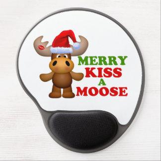 Tapis De Souris Gel Joyeux baiser mignon Noël d'orignaux