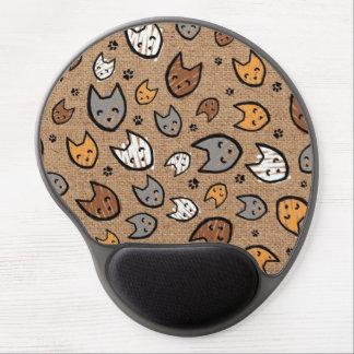 Tapis De Souris Gel Motif coloré de chats et de pattes sur la toile de