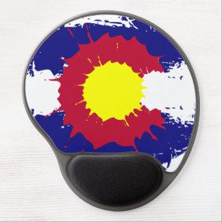 Artistic Colorado flag paint splatter gel mousepad