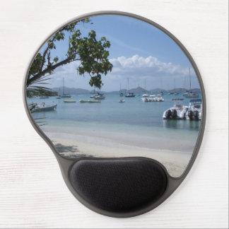 Tapis De Souris Gel Port d'île des Caraïbes avec la plage