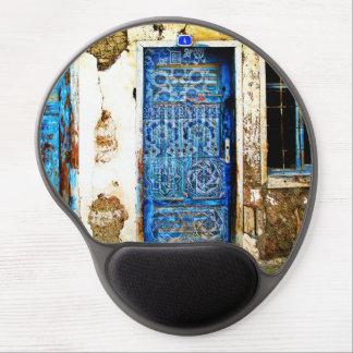 Tapis De Souris Gel Vieille porte bleue peinte à la main en Grèce