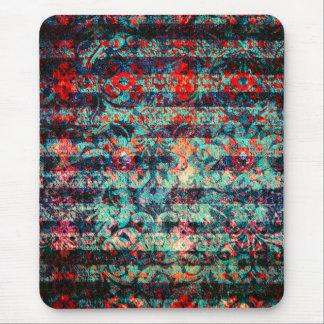 Tapis De Souris Grunge florale abstraite de rouge et de bleu