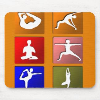 Tapis De Souris Icônes de pose de yoga