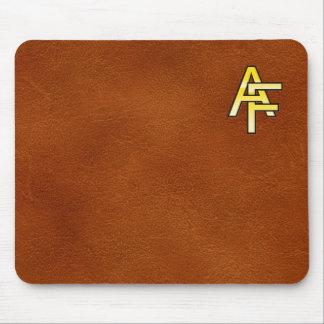 Tapis De Souris initiales  A et F en or sur fond de cuir