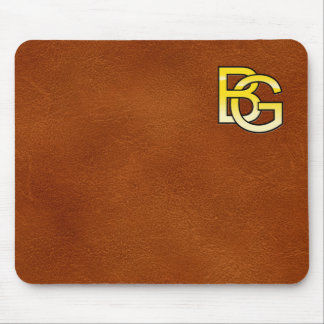 Tapis De Souris initiales  B et G en or sur fond de cuir