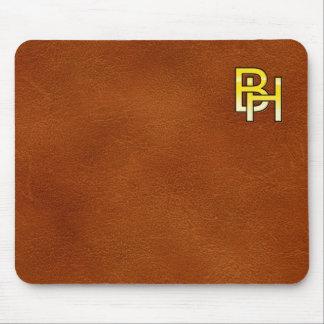 Tapis De Souris initiales  B et H en or sur fond de cuir
