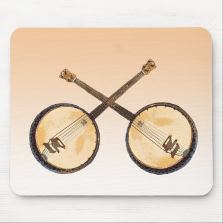 Tapis De Souris Instrument de musique abstrait de banjo d'orange